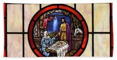 Stained Glass Nativity Window Bath Towel