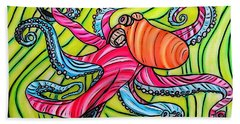 Hand Towel featuring the drawing Stained Glass Octopus by Justin Moore