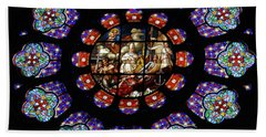 Stained Glass Rose Window Of Joinville Hand Towel