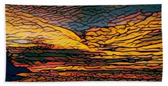 Stained Glass Sunset Bath Towel