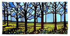 Stained Glass Trees Bath Towel