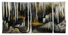 Bath Towel featuring the painting Stalactite Cave by Anastasiya Malakhova