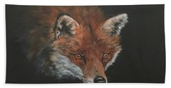 Hand Towel featuring the painting Red Fox In Stalking Mode by Jean Walker
