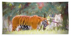 Hand Towel featuring the painting Stalking Tiger by Judy Kay