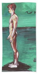 Hand Towel featuring the painting Standig On A Cold Beach With Hesitation  by Rene Capone