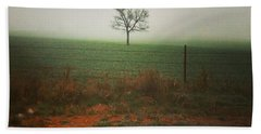 Standing Alone, A Lone Tree In The Fog. Bath Towel