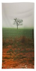 Standing Alone, A Lone Tree In The Fog. Hand Towel