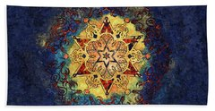 Star Shine Blue And Gold Hand Towel