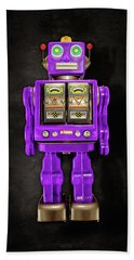 Hand Towel featuring the photograph Star Strider Robot Purple On Black by YoPedro