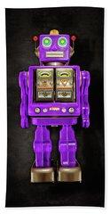 Star Strider Robot Purple On Black Bath Towel by YoPedro