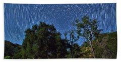 Star Trails Around Polaris Bath Towel