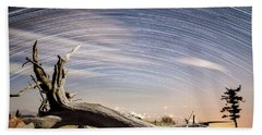 Star Trails By Fort Grant Bath Towel