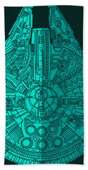 Star Wars Art - Millennium Falcon - Blue 02 Hand Towel