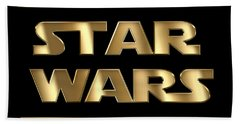 Star Wars Golden Typography On Black Bath Towel by Georgeta Blanaru