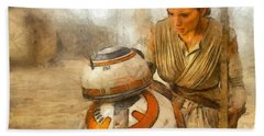 Star Wars Rey And Bb-8  - Pencil Style -  - Pa Hand Towel