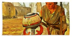 Star Wars Rey And Bb-8  - Van Gogh Style -  - Pa Hand Towel