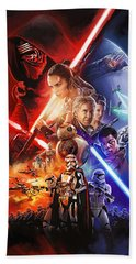 Bath Towel featuring the painting Star Wars The Force Awakens Artwork by Sheraz A