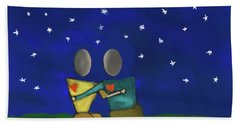 Star Watching Hand Towel by Haleh Mahbod