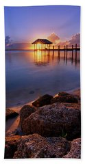 Starburst Sunset Over House Of Refuge Pier In Hutchinson Island At Jensen Beach, Fla Hand Towel by Justin Kelefas