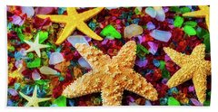 Starfish On Sea Glass Hand Towel
