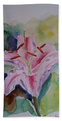 Stargazer Lily Watercolor Still Life Gift  Bath Towel