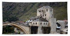 Stari Most Ottoman Bridge And Embankment Fortification Mostar Bosnia Herzegovina Hand Towel