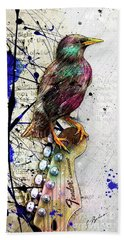 Starling On A Strat Hand Towel