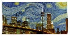 Hand Towel featuring the painting Starry Night Brooklyn Bridge by Movie Poster Prints