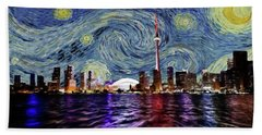 Hand Towel featuring the painting Starry Night Toronto Canada by Movie Poster Prints