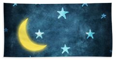 Stars And Moon Drawing With Chalk Hand Towel