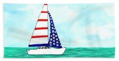 Stars And Strips Sailboat Bath Towel