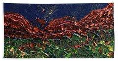 Stars Falling On Copper Moon Bath Towel by Donna Blackhall