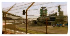 Bath Towel featuring the photograph Start Finish Indianapolis Motor Speedway by Iconic Images Art Gallery David Pucciarelli