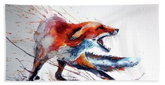 Startled Red Fox Hand Towel