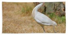 Stately Walking Cattle Egret Hand Towel