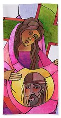 Stations Of The Cross - 06 St. Veronica Wipes The Face Of Jesus - Mmvew Hand Towel
