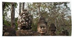 Statue Heads Ankor Thom Hand Towel