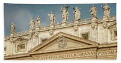 Statues Of St Peter's Basilica Bath Towel