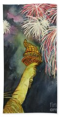 Statute Of Liberty Hand Towel by Lucia Grilletto