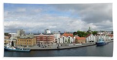 Stavanger Harbour Panorama  Bath Towel