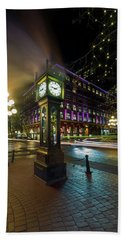 Steam Clock In Gastown Vancouver Bc At Night Hand Towel