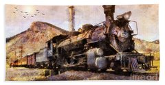 Steam Locomotive Hand Towel by Ian Mitchell