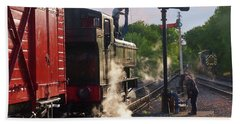 Steam Train Taking On Water Hand Towel by Gill Billington