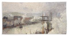 Steamboats In The Port Of Rouen, 1896  Bath Towel