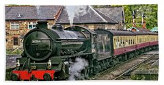 Steaming Out Of Grosmont Station Hand Towel