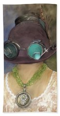 Steampunk Beauty With Hat And Goggles - Square Hand Towel by Betty Denise