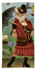 Hand Towel featuring the painting Steampunk Cat Gal - Victorian Cat by Carrie Hawks