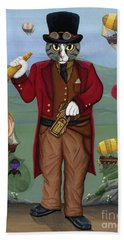 Hand Towel featuring the painting Steampunk Cat Guy - Victorian Cat by Carrie Hawks