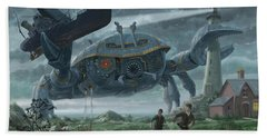Bath Towel featuring the digital art Steampunk Giant Crab Attacks Lighthouse by Martin Davey