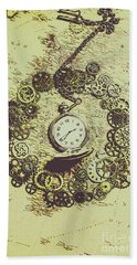Steampunk Travel Map Bath Towel